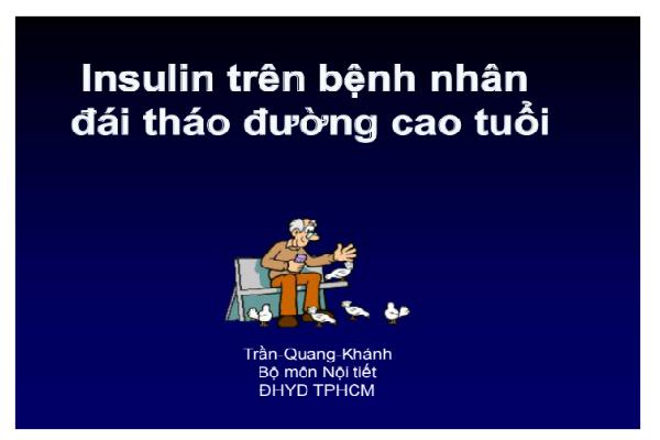 insulin trên bệnh nhân đái tháo đường cao tuổi