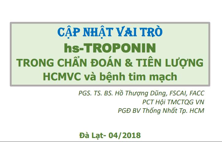 cập nhật vai trò của hs troponin trong chẩn đoán và tiên lượng HCMVC và bệnh tim mạch