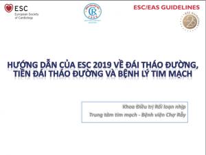 Hướng dẫn của ESC 2019 về đái tháo đường - tiền đái tháo đường và bệnh lý tim mạch