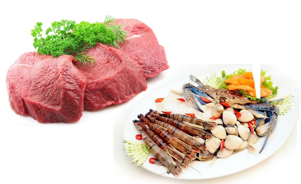 Thịt bò kết hợp với hải sản giá trị dinh dưỡng = 0
