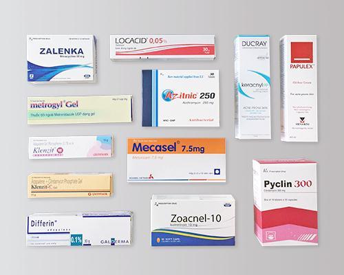 Một số loại thuốc uống, thuốc thoa trị mụn thường dùng