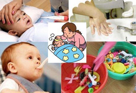 chăm sóc trẻ tay chân miệng