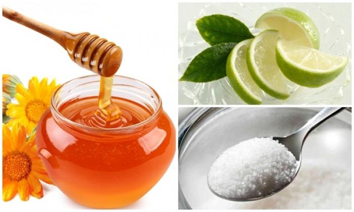 Hỗn hợp mật ong, chanh, đường giúp da tươi tắn, mịn màng