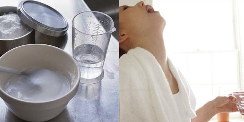 Súc miệng bằng nước muối giúp chữa viêm họng