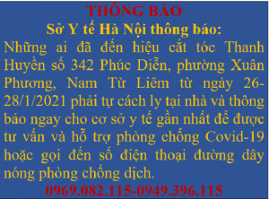 Thông báo khẩn của thành phố Hà Nội liên quan đến bệnh nhân 1818