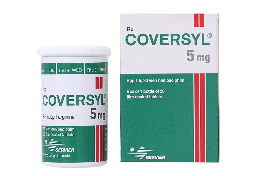 Giá thuốc Coversyl 5mg là 6.800₫ / Viên và 195.000₫ / Hộp