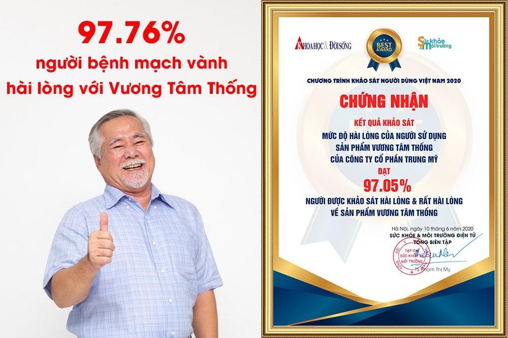 97.76% người bệnh mạch vành đánh giá rất hài lòng sau khi dùng Vương Tâm Thống