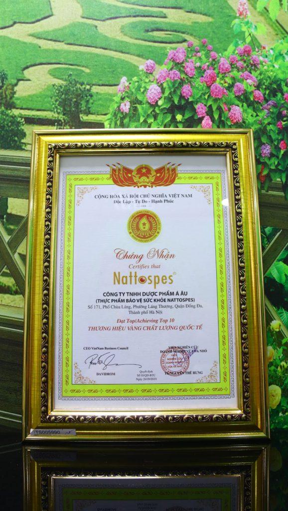 """Nattospes nhận giải thưởng """"Thương hiệu vàng chất lượng quốc tế 2020"""""""