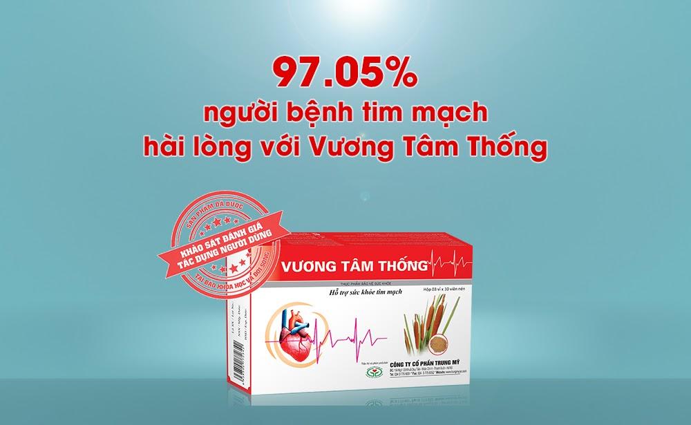 97.05% người bệnh tim mạch đánh giá rất hài lòng về thực phẩm chức năng Vương Tâm Thống