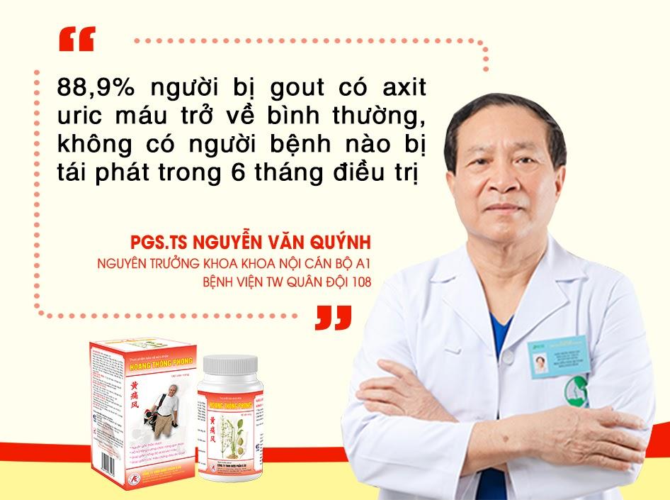 PGS.TS Nguyễn Văn Quýnh chủ đề tài nghiên cứu lâm sàng của Hoàng Thống Phong với người bệnh gout