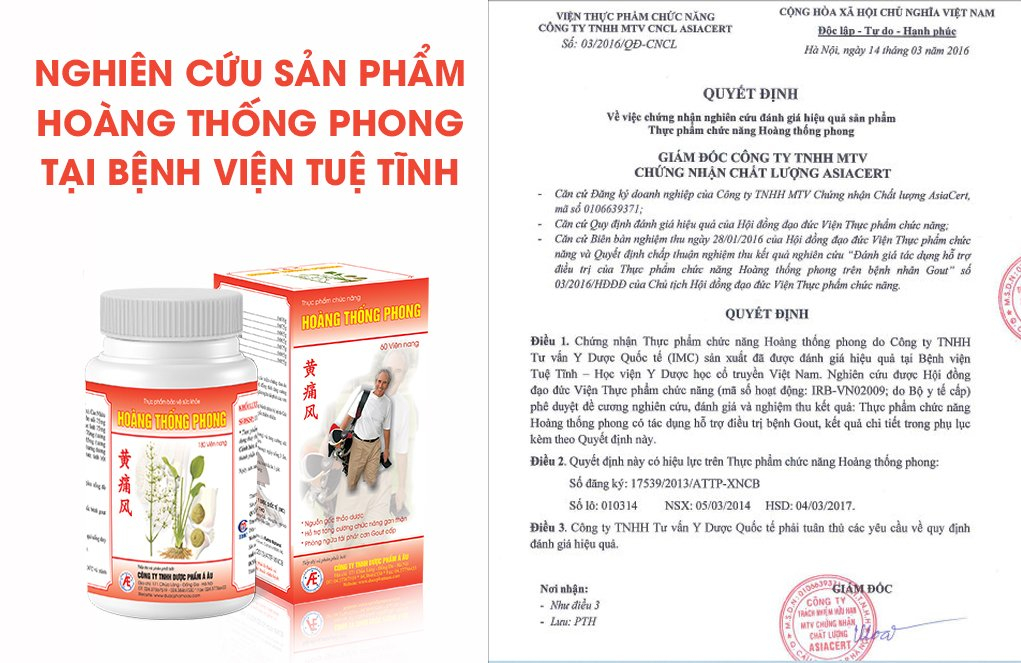 Nghiên cứu tác dụng của Hoàng Thống Phong với người bị gout tại bệnh viện Tuệ Tĩnh cho hiệu quả tốt